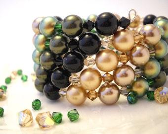 Green, gold, black Swarovski bracelet: Eyes in the Night - swarovski pearls, swarovski bracelet, wrap bracelet, memory wire,
