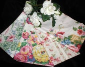Vintage Cyrus Clark, Fabriyaz, Chintzes etc. 80s-90s Fabric Lot of Floral Decorating Samples, Scraps Lg and Small in Peaches, Pinks, Greens