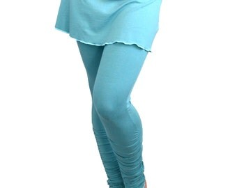 XL Turquoise Yoga Leggings with Mini Skirt Shirred Ankle-Length Ruched Long Tights