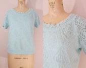 Vintage 1980s Light Blue Sweater // Pointelle Short Sleeved Sweater // Medium