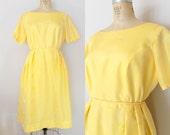1960s Silk Dress // CALIFORNIA SUNSHINE DRESS // Vintage 60s Yellow Dress // Large
