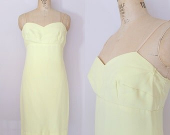 1960s Yellow Cocktail Dress // SUNKISSED SHOULDERS DRESS // Vintage 60s Cocktail Dress // Medium