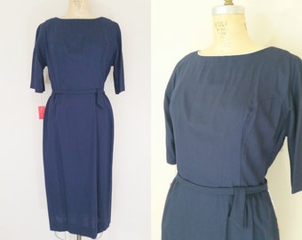 1960s Navy Blue Dress // BOARDROOM TO BEDROOM Dress // Vintage 60s Dress // Tags Attached // Medium Large