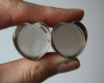 "3/4"" Smokey Quartz Heart Plugs"