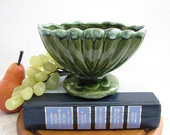 Vintage Oval Ceramic Pedestal Planter, Olive Green Drip Glazed Scalloped Edge, Glazed USA Pottery Footed Planter, Floral Vase