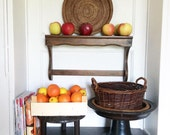 Vintage French wooden stand shelf rack spice kitchen utensil hanging display circa 1960's / English Shop