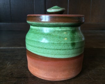 Vintage English Jam Honey Chutney Chocolate Spread Salt Sugar Clay Terracota Pot Jar circa 1960's / English Shop