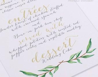 Printable Wedding Menu Card - Calligraphy