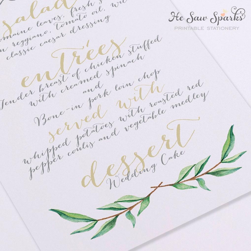 Printable wedding menu card calligraphy