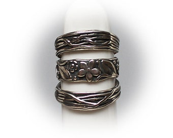 Sterling Silver Ladies Floral Design Fashion Ring