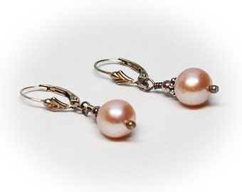 Sterling Silver Pink Pearl Dangle Earrings with Leverback Lock