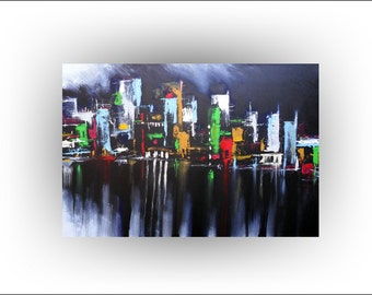 Night in the City Abstract Painting Cityscape Original painting Art Pallet Knife Landscape Skyline, 36 x 24, Skye Taylor...Ready to hang