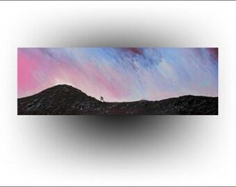Landscape Painting Inspirational Original painting Runner Climber Mountain Hill- 12 x 36 - Artist Skye Taylor