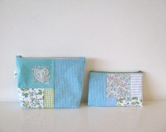 cosmetic bag and zipper pouch gift set - mint aqua green patchwork cottage style pouch - cosmetic bag - perfect mothersday gift - heart