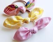 Set of Three Fabric Bow Hair Elastic Ties