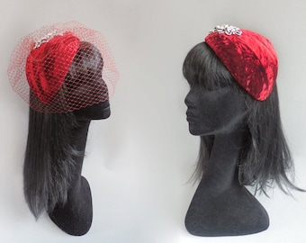 Dutch design deep red velvet percher hat with rhinestone finish with optional but included birdcage veil on combs