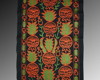 Marvellous Uzbek silk handmade embroidery long   Wall Hanging Table Cover Ethnic Suzani