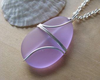 Wire Wrapped Sea Glass Necklace Aqua Turquoise Blue Purple Cornflower Man Made Sea Glass Beach Glass Bridesmaid Jewelry for Beach Wedding