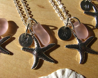 Pink Sea Glass Starfish Necklace Personalized Stamped Initial Pink Beach Glass Bridesmaid Jewelry Bridesmaids Gifts Beach Wedding