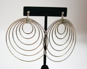 Vintage Sterling Silver Hoop Earrings Art Deco Style Huge
