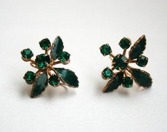 Vintage Rhinestone Enameled Earrings Green Leaves Pierced Earrings
