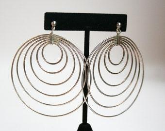 Vintage Sterling Silver Hoop Earrings Art Deco Style Huge