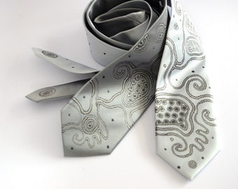 Wedding neckties grey and white, shining neck tie, neckties, gift for man, gift for him - Hand painted accessories OOAK ready to ship