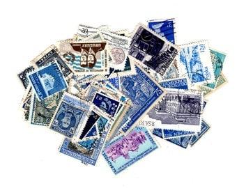 100 Blue International Postage Stamps