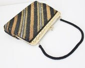 1960s gold metallic beaded striped clutch purse with gold frame