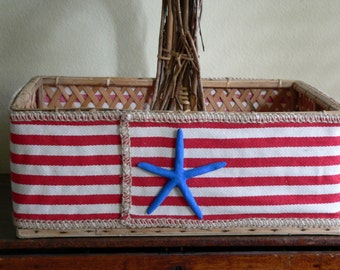 PATRIOTIC BASKET-Red White Blue Basket-Vintage Woven Basket-Flag Decor-Fourth of July-Americana-American Flag-Picnic Basket-Annie Gray-Flags