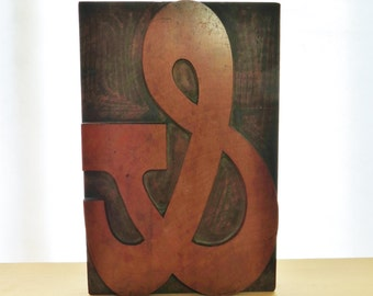 Antique Wooden Letterpress Large Printing Block Ampersand