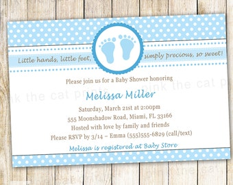 Baby Shower Invitation Blue Baby Feet Polka Dots - also Custom Party Invite Custom Printable Personalized