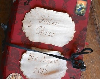 Alice in Wonderland wedding guestbook, personalised / personalized red & black large guest book, Ideal Gift, engraved with pyrography