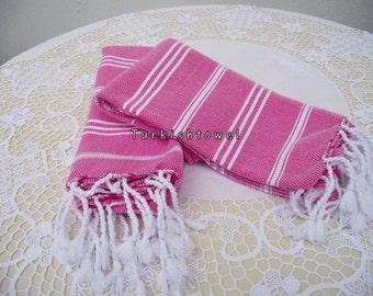 Turkishtowel-Set of 2-Hand woven peshkirs-hand,tea,dish towels-White stripes on fuchsia