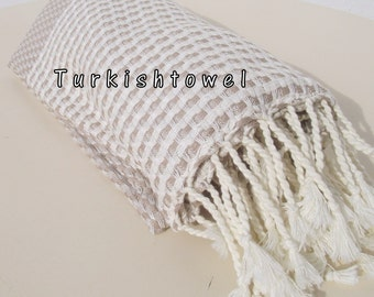 Turkishtowel-2015 Collection-Softest,Hand Woven,Cotton Bath,Beach,Pool,Spa,Yoga,Travel Towel or Sarong-Beige,Cream Stripes