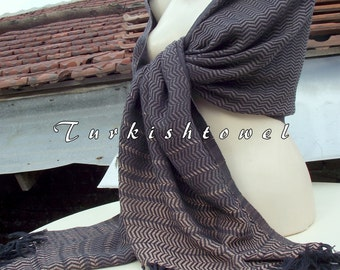 Turkishtowel-2015 Collection-Hand woven,loose weave like gauze cotton warp and weft,soft Shawl-Very warm,lovely-Brown,beige pin stripes