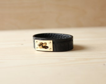 YC Python Embossed Soft Leather Bracelet(Black)