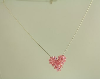 Vintage Pink Crystal Heart Sterling Silver Necklace Snake Chain (ET343 )
