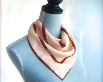 1970's Signed Paoli Logo Scarf in Beige and Russet Brown