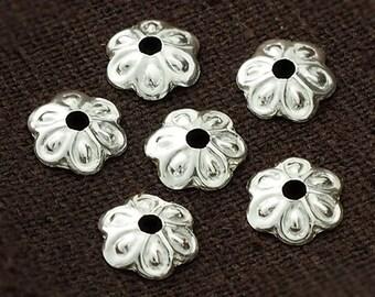 25 of 925 Sterling Silver Flower Bead Caps 7 mm. :kh0021
