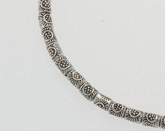 "70 of Karen Hill Tribe Silver Sun Printed Beads 2.5 x 3 mm. 9"" :ka4083"