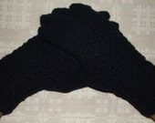 Hand knitted very warm black men gloves
