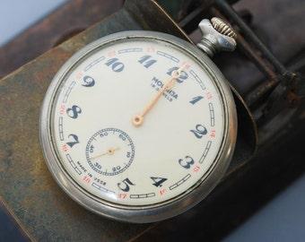 Vintage pocket  watch Molniya, Russian mechanical watch