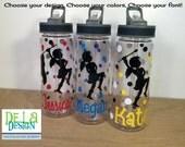 Personalized Clear plastic sport water bottle, Flip top w/ straw, 22 oz size, Band majorette, Baton Twirler, Drill team, Color Guard, dance