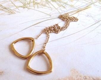 Golden Triangles-Threader Earrings