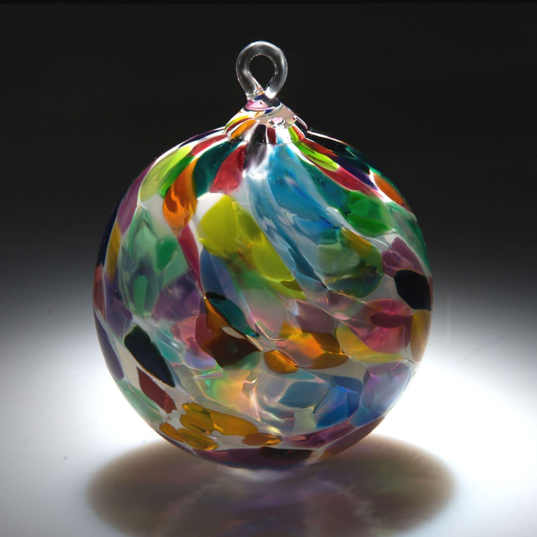Ornament sun catcher hand blown fine art glass in white