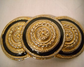 Vintage Circles Belt Buckle Gold And Black Circles 1980s