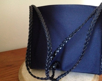 Vintage Designer Harry ROSENFELD Dark Blue Satin Shoulder Bag / on sale