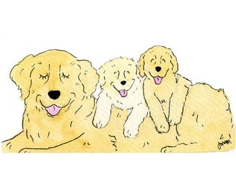 Whimsical Golden Retriever Mother's Day Print 5x7