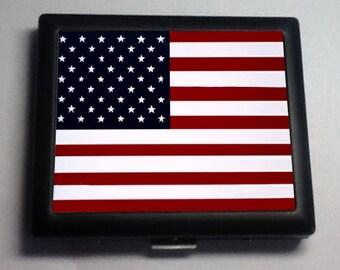 USA American Flag Metal Wallet Cigarette Case 427